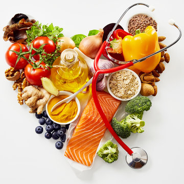 Fresh food for a healthy heart concept