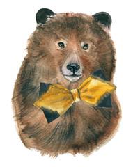 Bear. Animals for children's illustration, watercolor