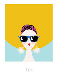 Leo horoscope woman with a big afro hairstyle, wearing sunglasses and big earrings. Vector illustration.