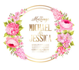 Wedding invitation card with rose flowers. Vintage wedding invitation card with template names and flower circle garland. Vector illustration.