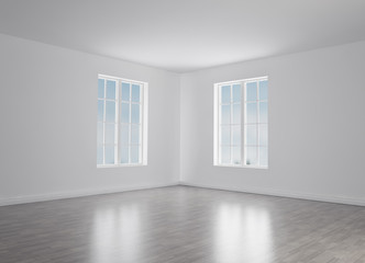 Modern light room with empty walls. mockup. 3d render