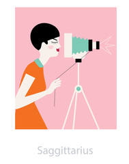 Sagittarius horoscope as a photographer woman working at the vintage style photo camera. Vector illustration.