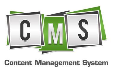 CMS - Content Management System Green Grey Blocks