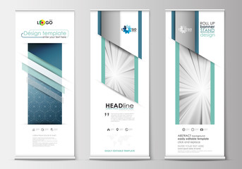 Set of roll up banner stands, flat design templates