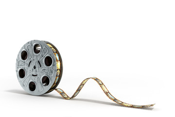 film reel with a film strip 3d render on the white background
