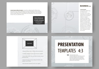 Set of business templates for presentation slides. Easy editable layouts, vector illustration. High tech design, connecting system. Science and technology concept. Futuristic abstract background.