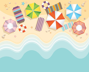 Aerial view of summer beach in flat design style. starfish and summertime, relaxation summer tourism, vector