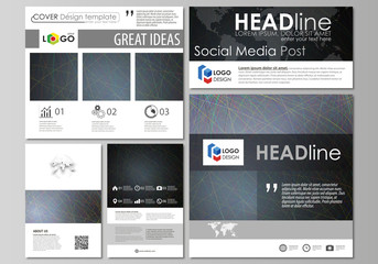 Social media posts set. Business templates. Easy editable flat design template, vector layouts in popular formats. Colorful background with abstract lines. Bright color chaotic, random, messy curves.
