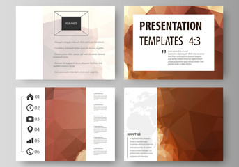 Set of business templates for presentation slides. Easy editable abstract vector layouts in flat design. Romantic couple kissing. Beautiful background. Geometrical pattern in triangular style.