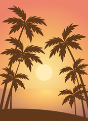 Beach summer with trees lanscape sea scenery sunset scenery vector