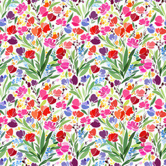 Seamless pattern with bright flowers on a white background, bright red tulips, small flowers.