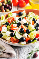 Greek salad with fresh vegetables
