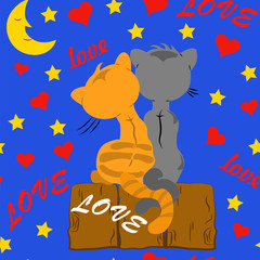 Seamless pattern with lovers cats hearts and the inscription on the background of a starry sky.