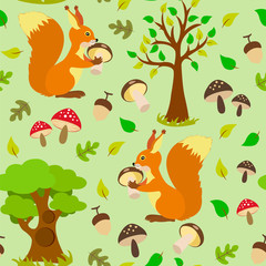 Seamless pattern with wild inhabitants of squirrels, mushrooms, trees and foliage on a green background.