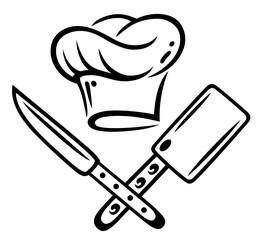 Koch, kochen, Kochmütze mit Messer und Hackebeil.