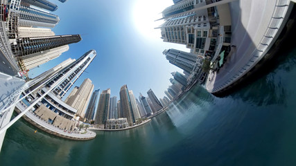 view of the Dubai center with futuristic skyscrapers