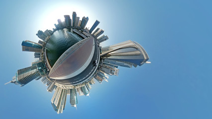 Little planet, view of the Dubai center with futuristic skyscrapers
