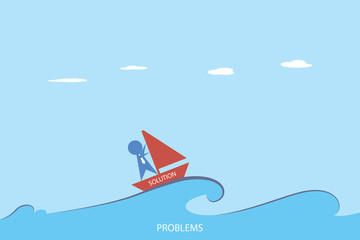 businessman is sailing on red sailboat, solution and business concept