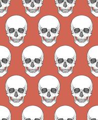Human skull tribal style seamless pattern. Vector hand drawn illustration. Boho