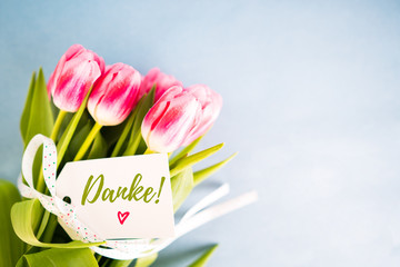 Danke Grußkarte mit Blumen