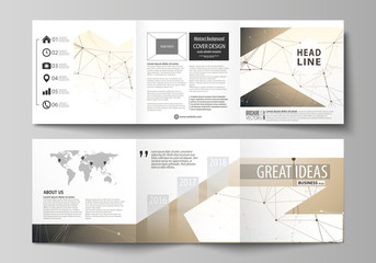 Business templates for tri fold square design brochures. Leaflet cover, easy editable vector layout. Technology, science, medical concept. Golden dots and lines, cybernetic digital style. Lines plexus