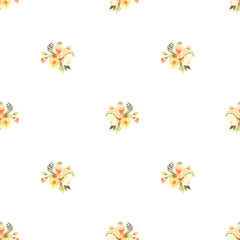 PRoses bouquets watercolor seamless pattern in yellow and violet