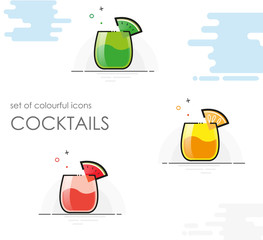 cocktails icon set