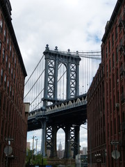 Acrylic Prints Narrow alley Williamsburg Bridge