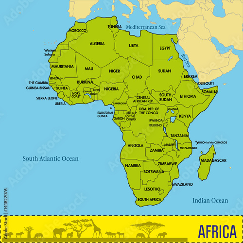 Map of Africa with all countries and their capitals\