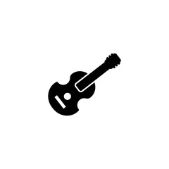 Pictogram acoustic guitar icon. Black icon on white background.