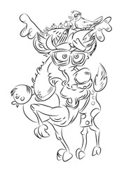 Cartoon image of crazy reindeer. An artistic freehand picture.