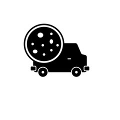 Pictogram pizza delivery icon. Black icon on white background.