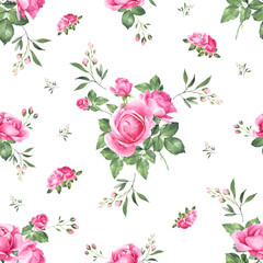 Pink roses bouquet watercolor seamless pattern.