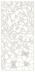 Set contour illustrations of stained glass from branches of Apple and cherry blossoms and butterflies