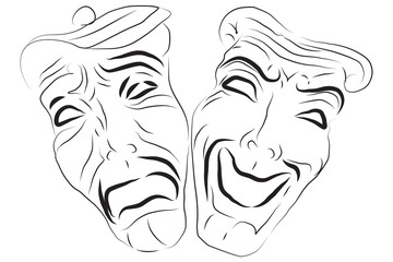 Comedy and Tragedy Mask Theaters. Vector Illustration.