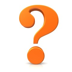 question mark orange 3d isolated on white background rendering icon symbol sign hd