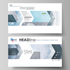 The minimalistic abstract vector illustration of the editable layout of high definition presentation slides design business templates. Abstract futuristic network shapes. High tech background.