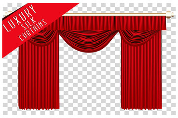 Red open theater curtain. Vector Illustration.