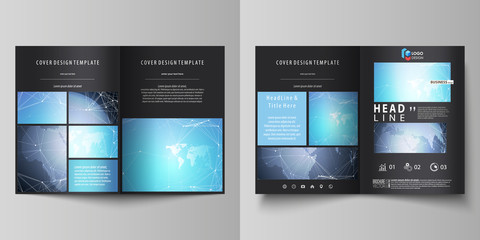 The black colored vector illustration of the editable layout of two A4 format modern covers design templates for brochure, flyer, booklet. Abstract global design. Chemistry pattern, molecule structure