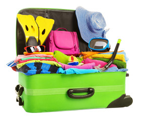 Suitcase, Open Packed Travel Luggage, Vacation Bag Full of Clothes Baggage, Isolated over White Background