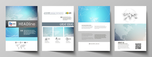 The vector illustration of the editable layout of A4 format covers design templates for brochure, magazine, flyer, booklet, report. Molecule structure. Science, technology concept. Polygonal design.