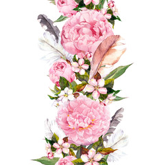 Floral border with pink peony flowers, cherry blossom and bird feathers. Vintage seamless stripe in boho style. Watercolor