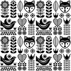 Skandynawski wzór sztuki ludowej bez szwu - czarny fiński design, styl nordycki - 144827417