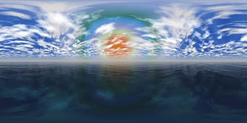 HDRI, environment map, Round panorama, spherical panorama, equidistant projection, sea sunset, panoramic,