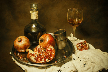 still-life with wine & grenades
