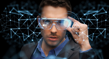 businessman in virtual reality or 3d glasses