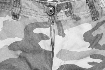 army pattern style background of pant fabric in black and white color
