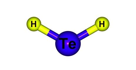 Hydrogen telluride molecular structure isolated on white