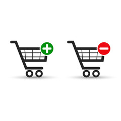 Shopping cart e-commerce vector icon set for web.
