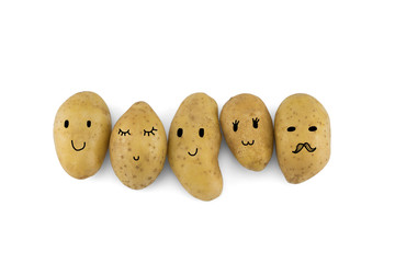 Potatoes cartoon characters isolated on white background